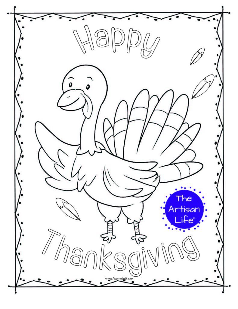 "A printable thanksgiving coloring page with a waving turkey and the text ""Happy Thanksgiving"" in bubble letters to color"