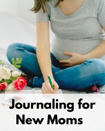 "text overlay ""Journaling for New Moms"" on the bottom of a square image with a pregnant woman journaling. Her left hand is on her belly and she's writing with her right hand. She is sitting on a bed with grey covers."