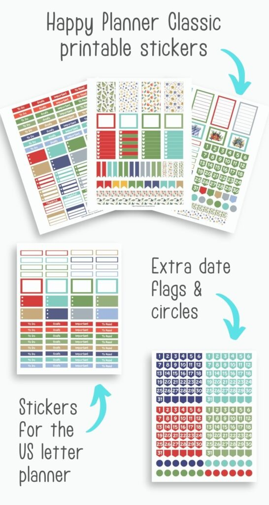 """a preview of five printable Christmas themed sticker sheets. Three are layered in a line at the top of the image with the text """"Happy Planner Classic printable stickers"""" and a teal arrow pointing at the pages. Below is another image with the text """"stickers for the US letter planner"""" and in the bottom right a fifth page with the text """"extra date flags and circles"""""""