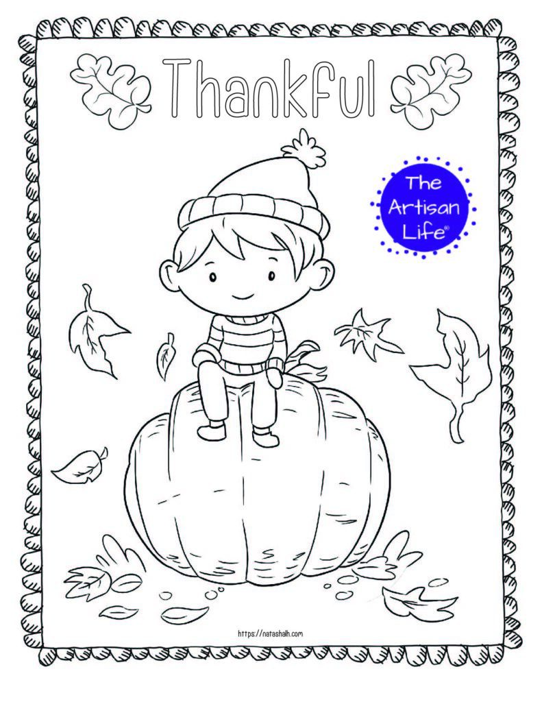 "A printable thanksgiving coloring page with a boy sitting on a pumpkin and the text ""thankful"" above"