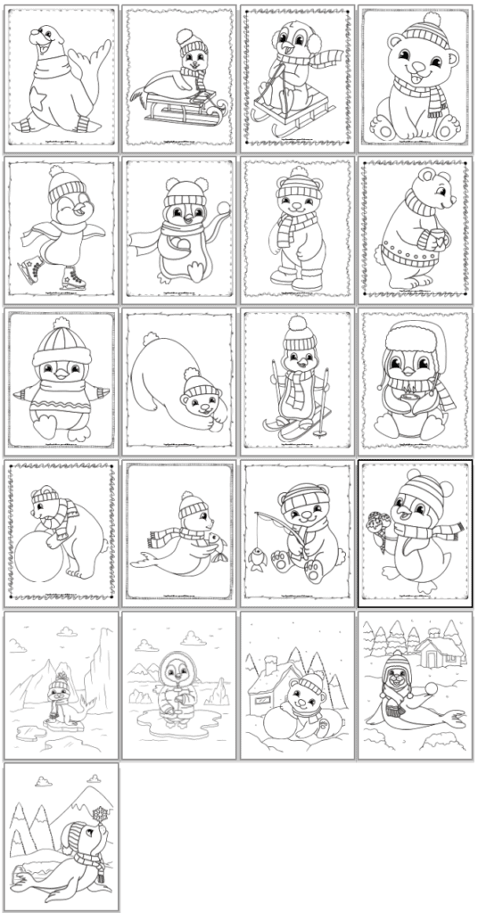 A screenshot of a grid of 21 printable winter animal coloring pages with cute penguins, seals, and polar bears for children to print and color