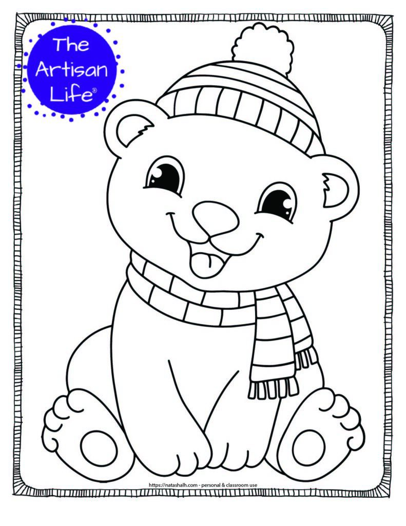 A coloring page with a seated cute baby coloring bear wearing a striped scarf and hat