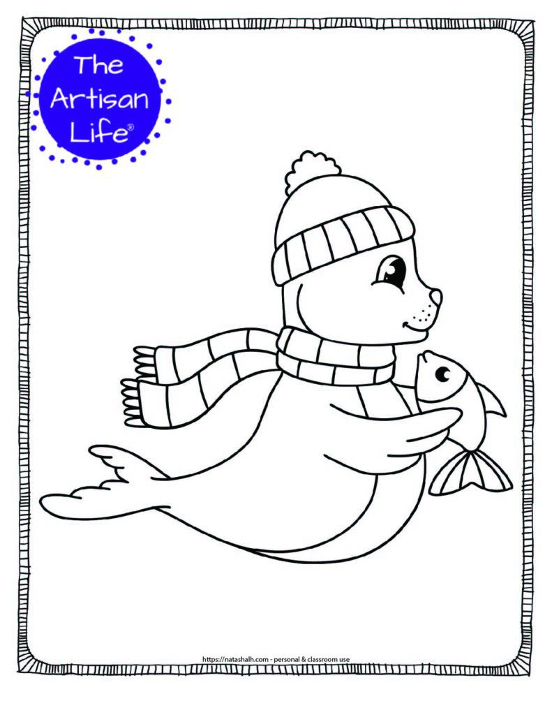 a coloring page with a cute seal wearing a hat and scarf holding a fish