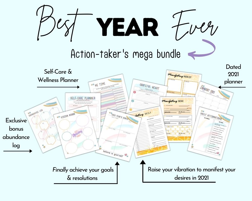 "caption ""best year ever action-taker's mega bundle"" with preview of 11 colorful planner printables for goal setting and manifestation"
