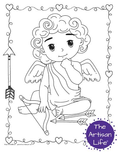 A Valentine's Day coloring page for kids with a cute cartoon Cupid sitting down with his arrows on the ground. He is holding a hand to his face as if thinking.