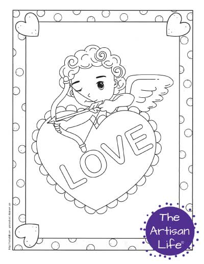 """A Valentine's Day coloring page for kids with a cute cartoon Cupid taking aim from behind a heart with """"love"""" written on it"""