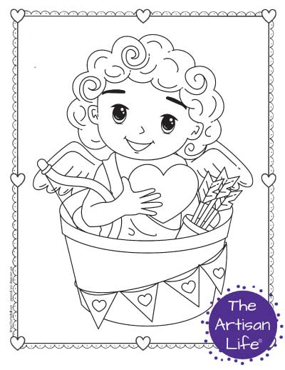 A Valentine's Day coloring page for kids with a cute cartoon Cupid sitting in a bucket decorated with heart bunting. He is holding a heart and has his bow and arrow.