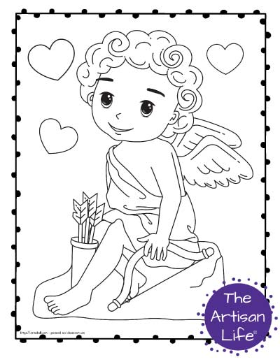 A Valentine's Day coloring page for kids with a cute cartoon Cupid sitting on a rock with bow, arrows, and hearts