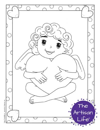 A Valentine's Day coloring page for kids with a cute cartoon Cupid sitting and hugging a large heart