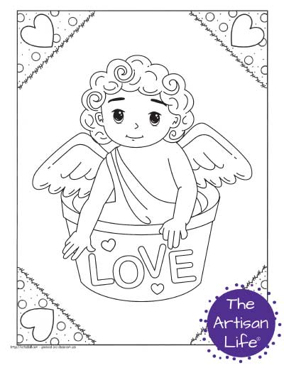 """A Valentine's Day coloring page for kids featuring a cute cartoon Cupid sitting in a bucket with the word """"love"""" on it"""
