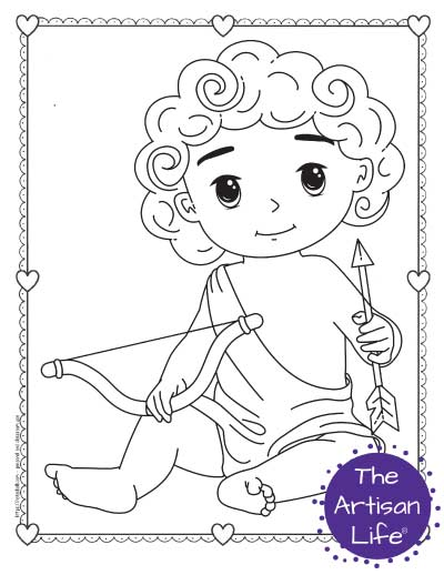 A Valentine's Day coloring page for kids with a cute cartoon Cupid sitting holding his bow and an arrow