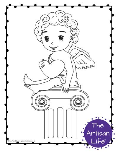 A Valentine's Day coloring page for kids with a cute cartoon Cupid sitting on an Ionic column holding a heart