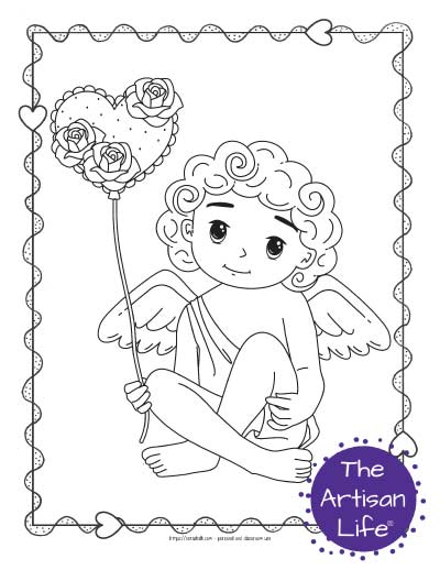 A Valentine's Day coloring page for kids with a cute cartoon Cupid sitting and holding a heart shaped balloon with roses on it