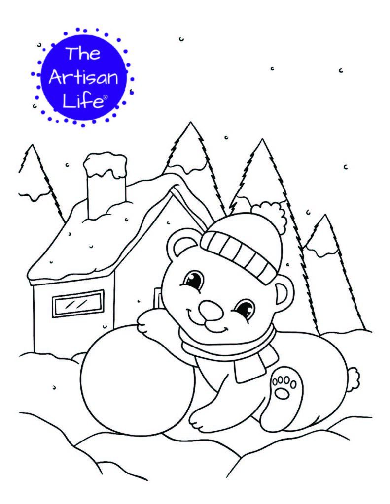a coloring page with a baby polar leaning on a snowball. A house and snowy trees are in the background.