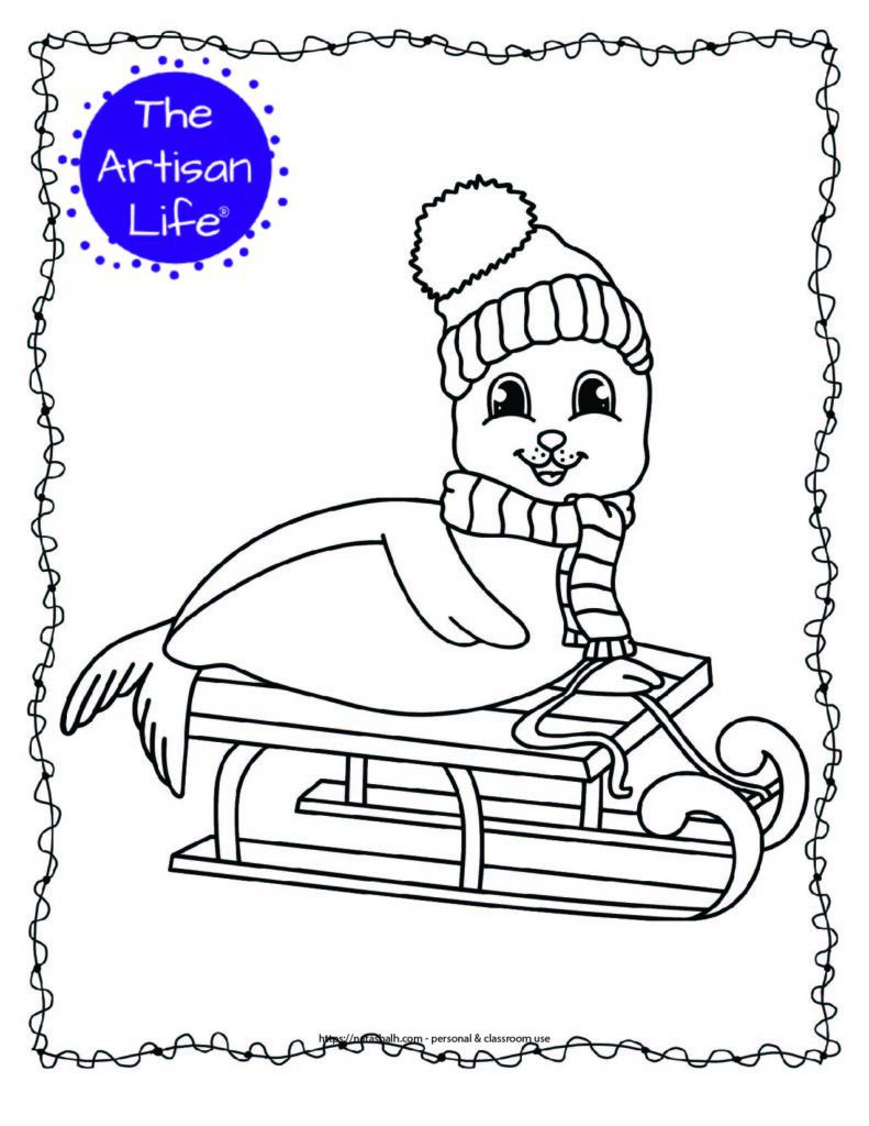 cute seal on a sled coloring page with doodle frame