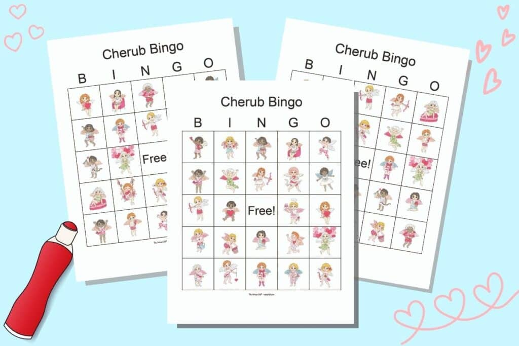 Three Valentine cherub bingo cards on a blue background. The cards feature diverse cartoon winged Valentine cherubs doing a variety of things like holding a heart banner, flying, holding balloons, running and more.