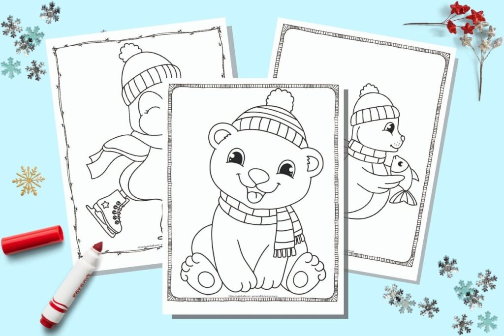 20+ Free Printable Winter Animal Coloring Pages For Kids - The Artisan Life