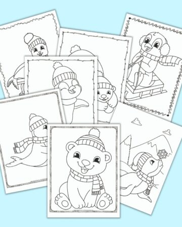7 free printable winter animal coloring pages with polar bears, seals, and penguins. The pages all have a doodle border around the coloring page. The pages are on a light blue background.