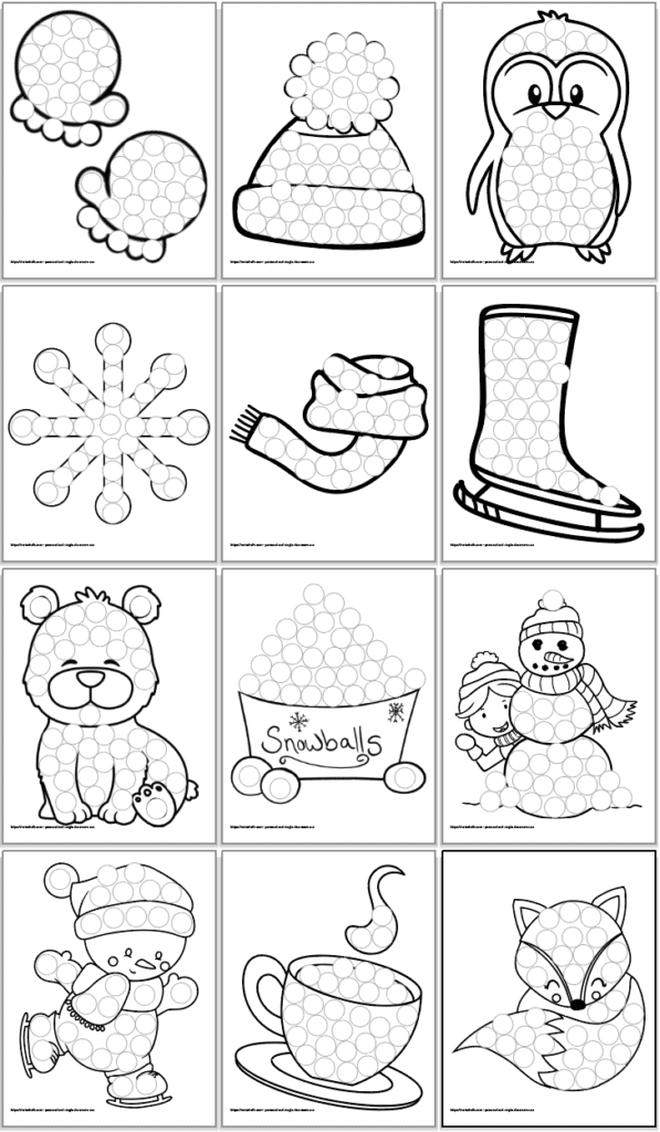 12 printable winter do a dot coloring pages for toddlers and preschoolers. The pages are in a 3x4 grid. Each page features a line drawing filled with circles to dot with bingo dauber markers. In order, the pictures are: A pair of mittens A winter hat A cute penguin A snowflake A scarf An ice skate A polar bear A bucket of snowballs A snowman with a child A skating snowman A cup of hot chocolate A cute fox