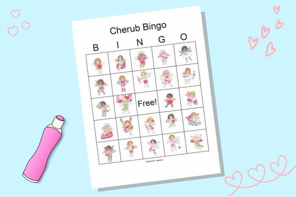 A free printable cherub themed bingo card for Valentine's Day with 24 diverse winged cherubs. The card is on a light blue background with a cartoon pink dot marker and doodle heart drawings.