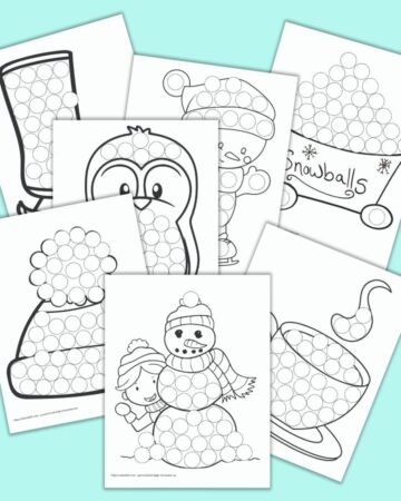 A square image with a stack of printable mockups. The printables are children's do a dot marker pages with black and white winter themed drawings filled with circles to color with dot markers. The bottom front image is a child hiding behind a snowman. Behind is a winter hat, a cup of hot chocolate, a penguin, a skating snowman, a bin of snowballs, and an ice skate