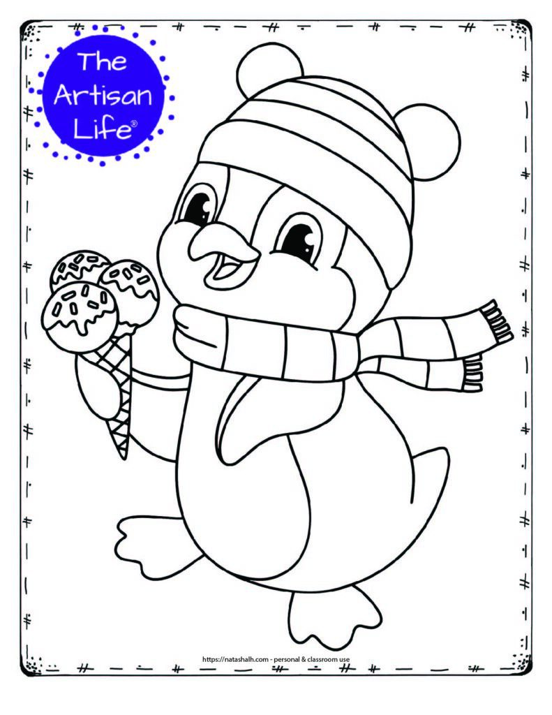 A coloring page with a penguin wearing a hat and scarf holding an ice cream cone