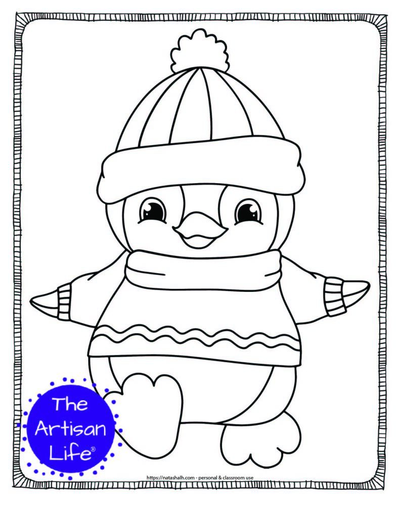a coloring page with a cute baby penguin walking in a sweater and hat