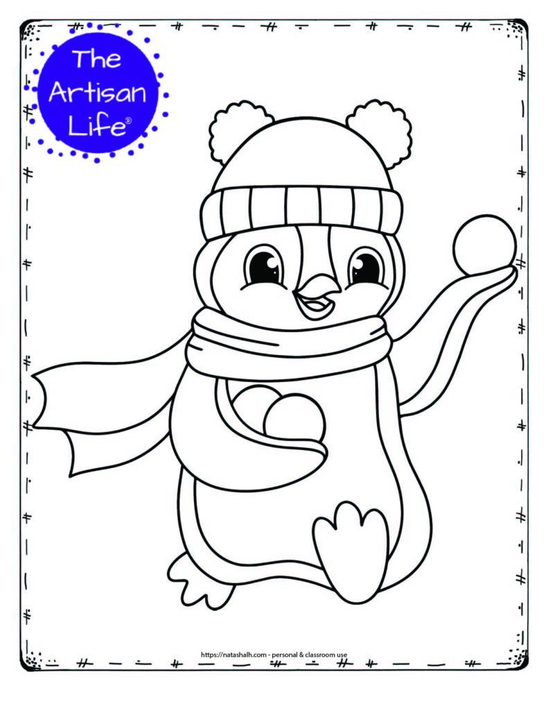 cute coloring page with a penguin throwing a snowball