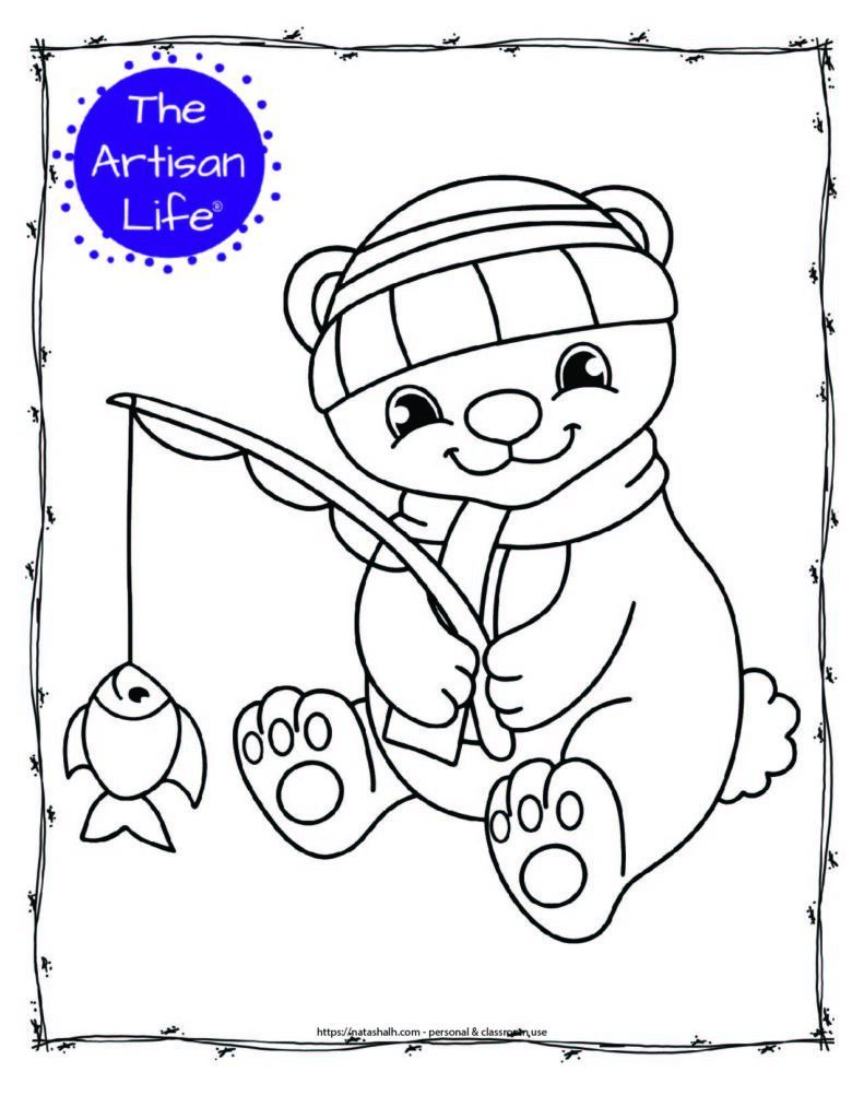 a coloring page with a cute polar bear wearing a hat and scarf using a fishing bowl to catch a fish