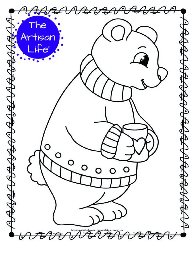 A coloring page with a polar bear wearing a sweater holding a cup of hot chocolate