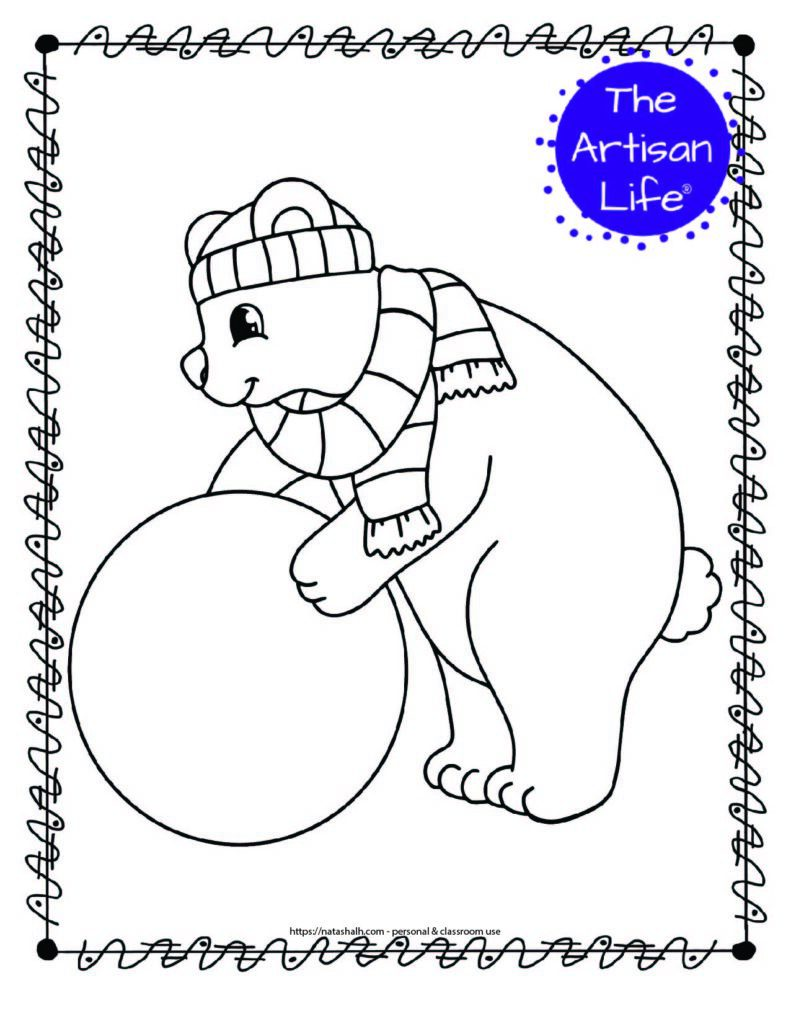 a coloring page with a polar bear rolling a large snowball