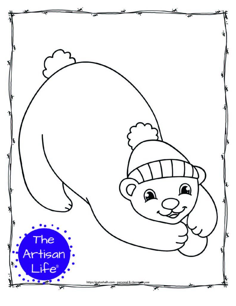 a coloring page with a polar bear wearing a hat with a small snowball in its paws