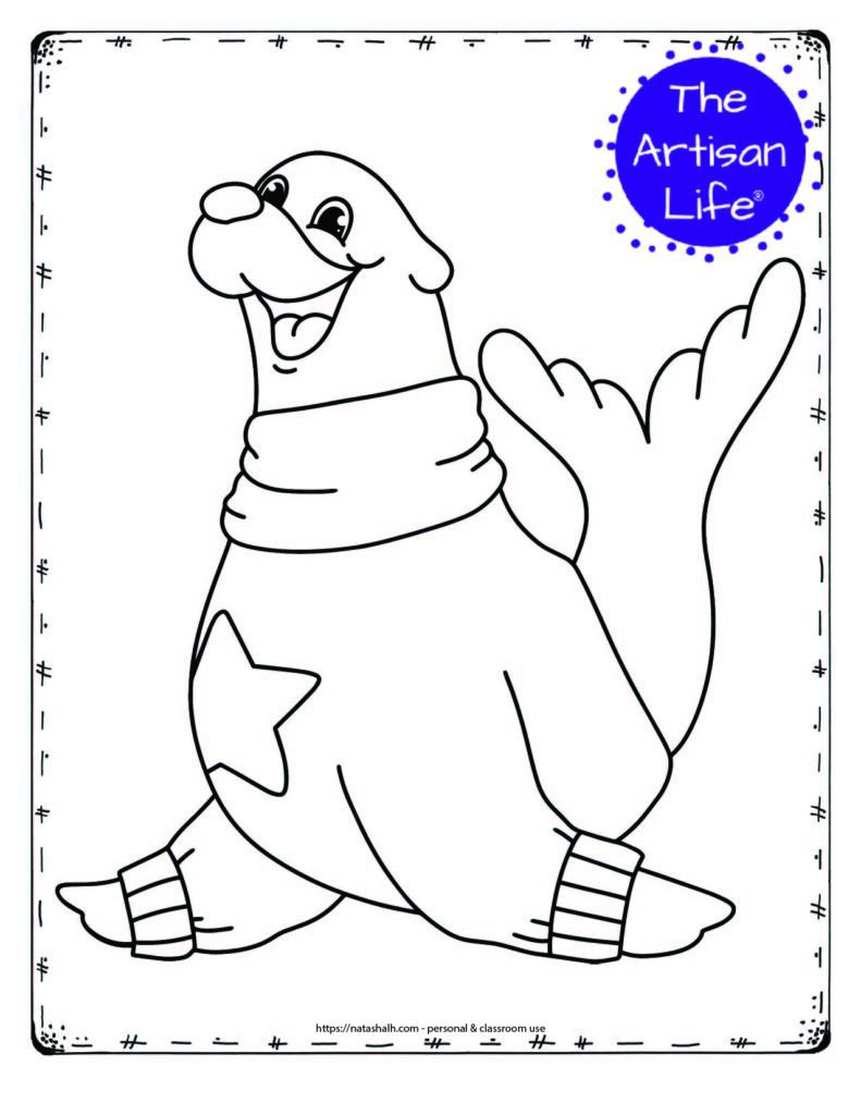 A coloring page with a large seal wearing a sweater with a star on the chest