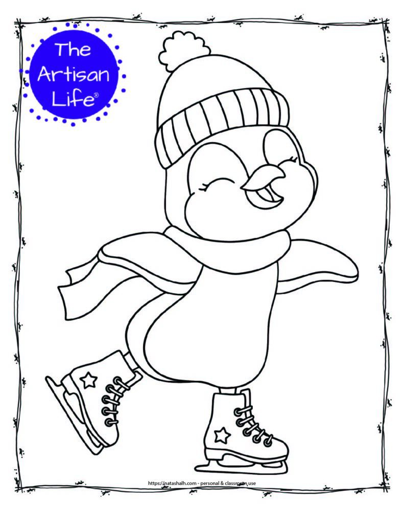 a coloring page with a happy ice skating penguin wearing a scarf and toboggan hat
