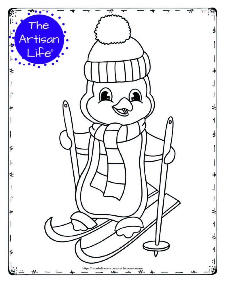 a cute coloring page with a skiing penguin. The penguin is wearing a scarf and toboggan hat.