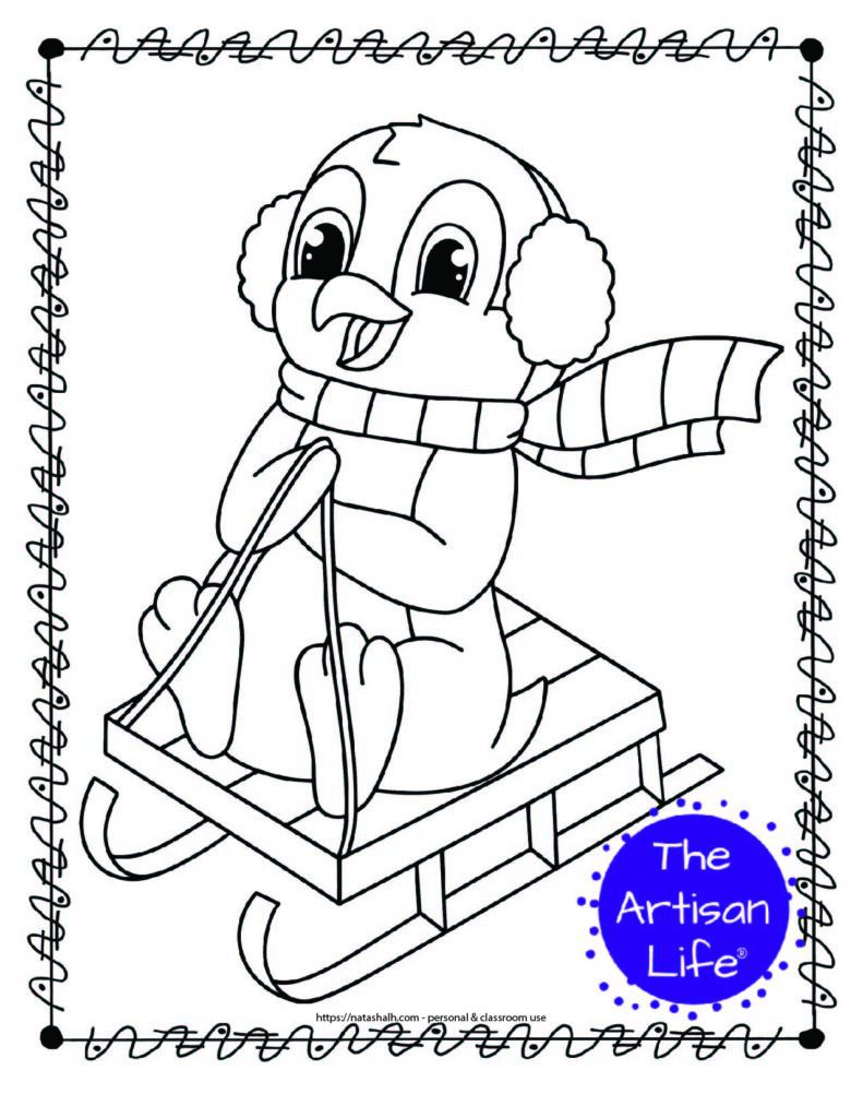 cute sledding penguin coloring page with a doodle frame