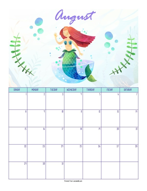 "A printable August 2021 calendar with a mermaid theme. The page says ""August"" at the top in purple script. Below is a red haired mermaid in a cup with bubbles. She is between two green pieces of sea grass. Below is a dated August 2021 calendar."