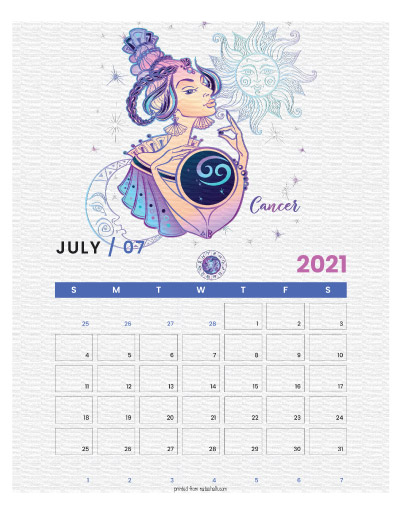 A printable monthly calendar page for July 2021 with a Cancer theme. The illustrations are pink, purple, and blue.