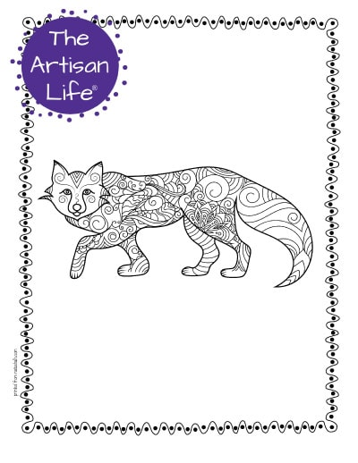"""A preview of a walking arctic fox coloring page for adults. The fox has hand drawn doodles to color and the page is bordered by a doodle frame. A purple round logo reading """"the artisan life®"""" is in the corner."""