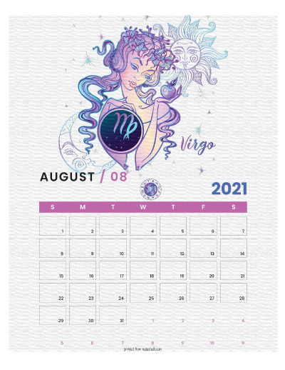 A printable monthly calendar page for August 2021 with a Virgo theme. The illustrations are pink, purple, and blue.