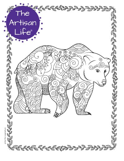 """A preview of a bear coloring page for adults. The large bear has hand drawn doodles to color and the page is bordered by a doodle frame. A purple round logo reading """"the artisan life®"""" is in the corner."""