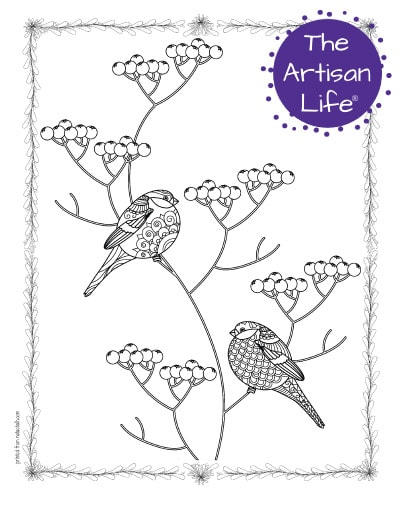 """A preview of a coloring page for adults. The page has two bullfinch birds sitting on a holly branch. The birds have hand drawn doodles to color and the page is bordered by a doodle frame. A purple round logo reading """"the artisan life®"""" is in the corner."""