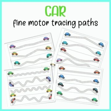 a top down view of four printable trace in the line pages. Each page has four paths for a preschool student to trace in. The paths look like roads and have a watercolor clipart car at each end.