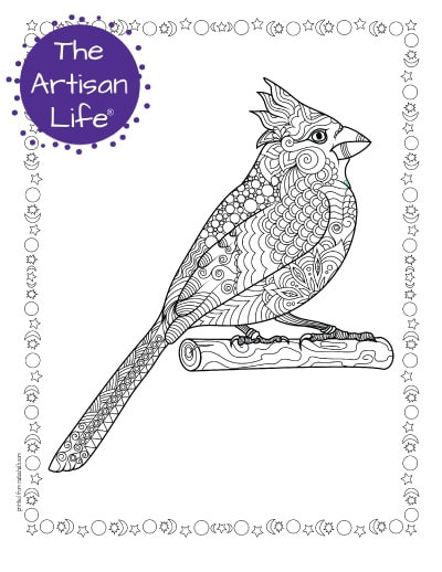 """A preview of a cardinal coloring page for adults. The cardinal sits on a branch and has hand drawn doodles to color and the page is bordered by a doodle frame. A purple round logo reading """"the artisan life®"""" is in the corner"""