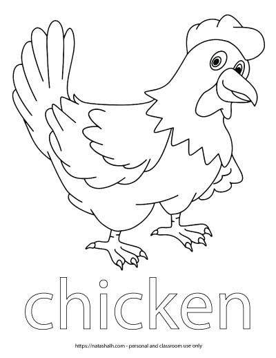 "A child's coloring page with an image of a chicken and the word ""chicken"" in bubble letters to color"