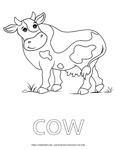 "A child's coloring page with an image of a spotted cow and the word ""cow"" in bubble letters to color"