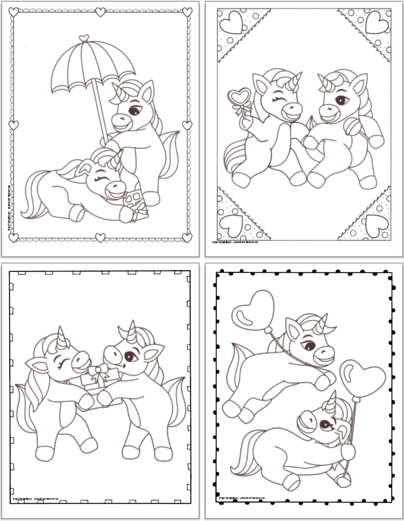 Four printable Valentines themed unicorn coloring pages including unicorns with a bar of chocolate an umbrella, unicorns running with lollipops, unicorns holding a present, and unicorns playing with balloons.