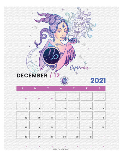 A printable monthly calendar page for December 2021 with a Capricorn theme. The illustrations are pink, purple, and blue.
