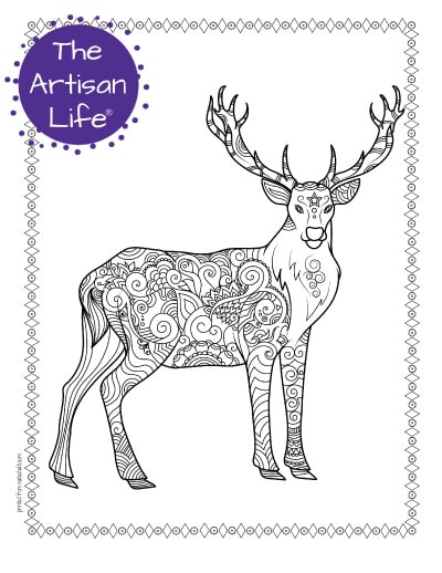 """A preview of an antlered deer coloring page for adults. The deer has hand drawn doodles to color and the page is bordered by a doodle frame. A purple round logo reading """"the artisan life®"""" is in the corner."""
