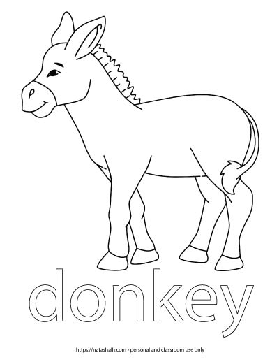"A child's coloring page with an image of a donkey to color and the word ""donkey"" in bubble letters"